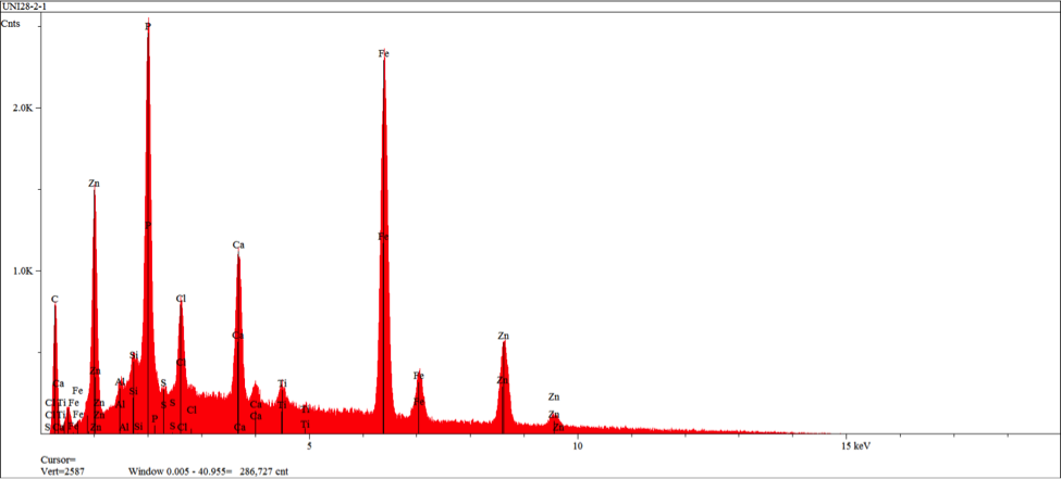 Figure 12 – EDS spectrum obtained from area 1 in figure 11 indicating elements/levels characteristic of a calcium modified zinc phosphate conversion coating with reisudual primer elements (chlorine and titanium)